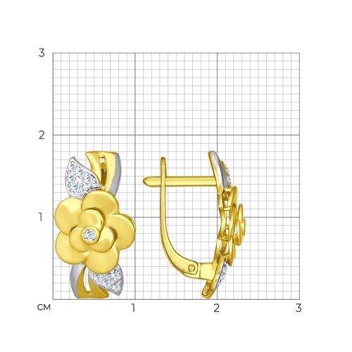 Серьги из желтого золота с фианитами (027133-2) - фото №2