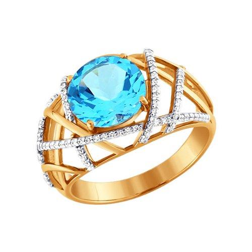 Золотое кольцо с голубым топазом и фианитами SOKOLOV кюп женское золотое кольцо с куб циркониями и топазом alm1750203164 18 5