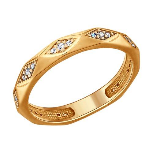 Кольцо из золочёного серебра с фианитами (93010692) - фото