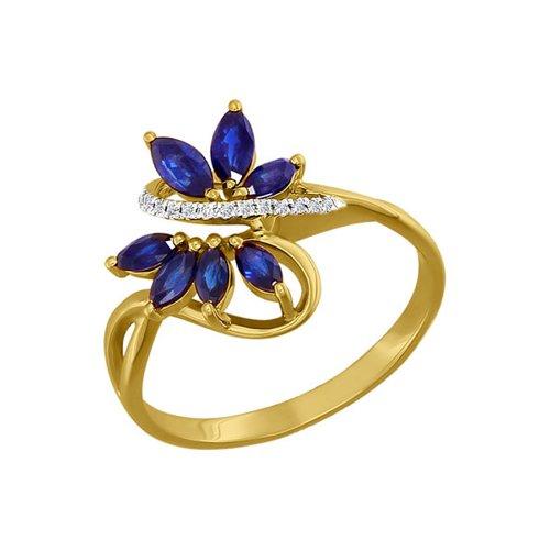 Фото - Кольцо SOKOLOV из жёлтого золота с бриллиантами и сапфирами кольцо с раухтопазами перидотами и бриллиантами из жёлтого золота