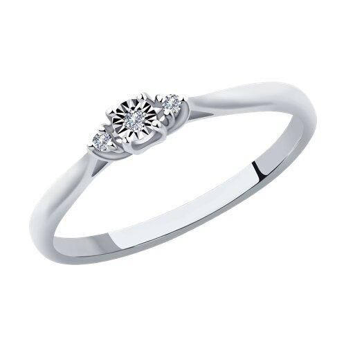 Кольцо из белого золота с бриллиантами (1012037) - фото
