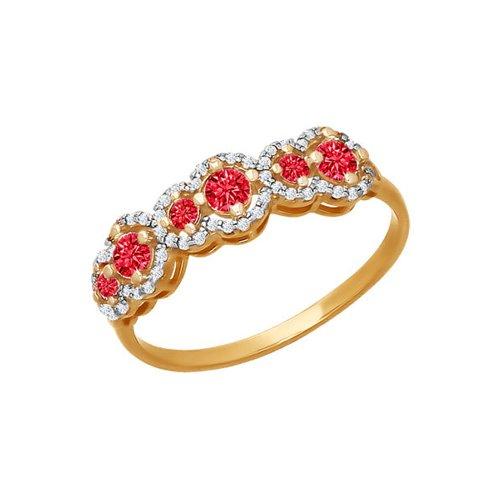 Золотое кольцо с красными фианитами SOKOLOV золотое кольцо ювелирное изделие 65290