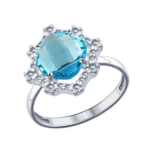 Кольцо SOKOLOV из серебра с голубой стеклянной вставкой и фианитами