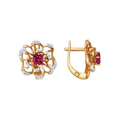 Золотые серьги с роскошными цветами SOKOLOV