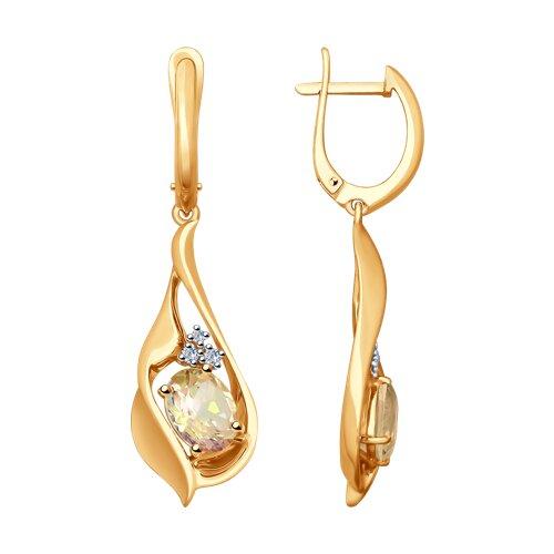 Серьги из золота с бриллиантами и морганитами