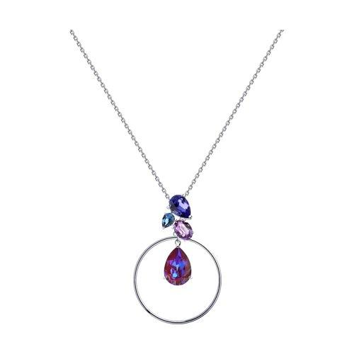 Колье из серебра с голубыми кристаллами Swarovski (94070302) - фото