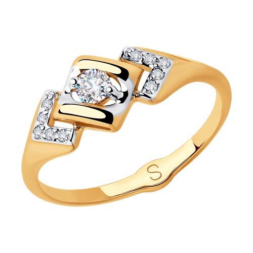 Кольцо из золота с фианитами (018038) - фото