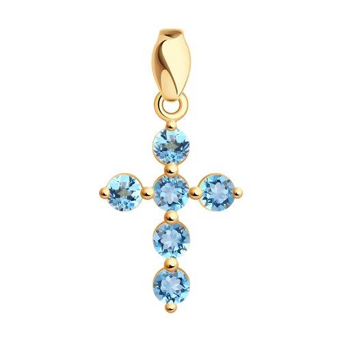 Крест из золота с топазами (730600) - фото