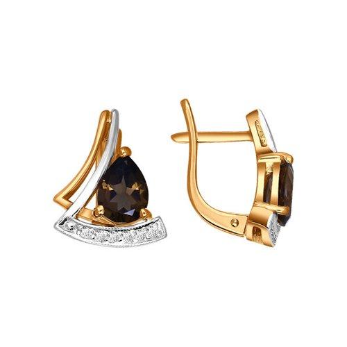 Серьги SOKOLOV из золота 585 пробы с раухтопазом серьги из красного золота 585 пробы с нанокристаллом топазом