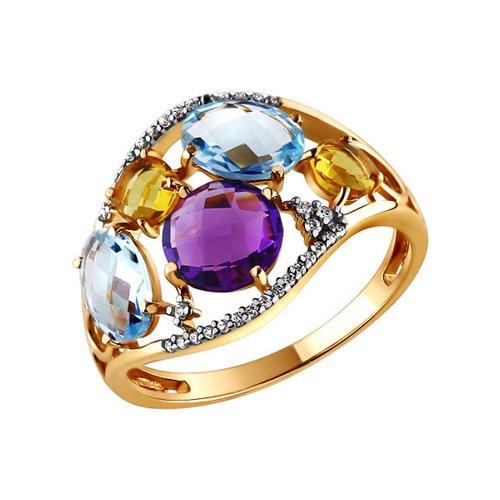 Золотое кольцо с аметистом, топазом и цитрином SOKOLOV