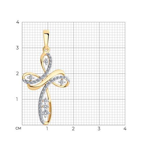 Крест из золота с фианитами