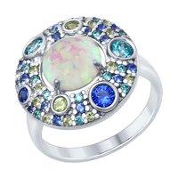 Кольцо из серебра с опалом и зелеными и синими фианитами