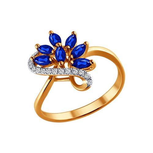 Золотое кольцо с сапфирами и бриллиантами SOKOLOV кольцо soul diamonds женское золотое кольцо с бриллиантами и сапфирами buhk 1515 14kw