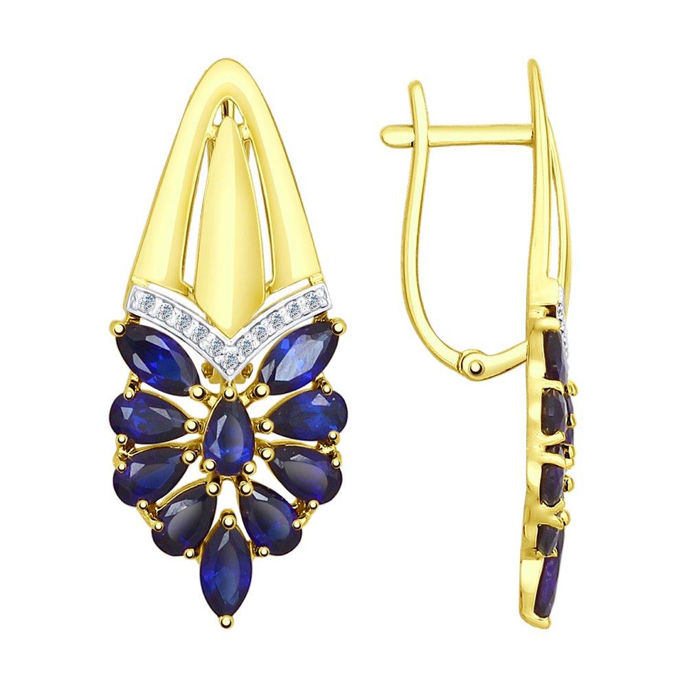 Серьги SOKOLOV из желтого золота с синими корундами (синт.) и фианитами серьги sokolov из золота с синими корундами и фианитами