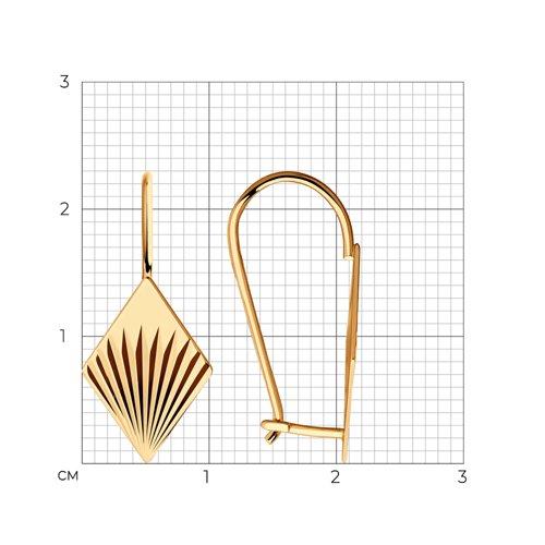 Серьги из золота с алмазной гранью (026794) - фото №2