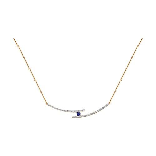 Колье из золота с бриллиантами и синим корунд (синт.)