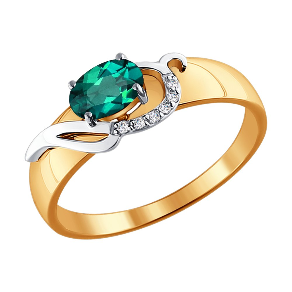Кольцо SOKOLOV из комбинированного золота с бриллиантами и изумрудом фото