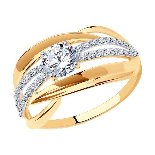 Кольцо из золота с фианитами (017425) - фото
