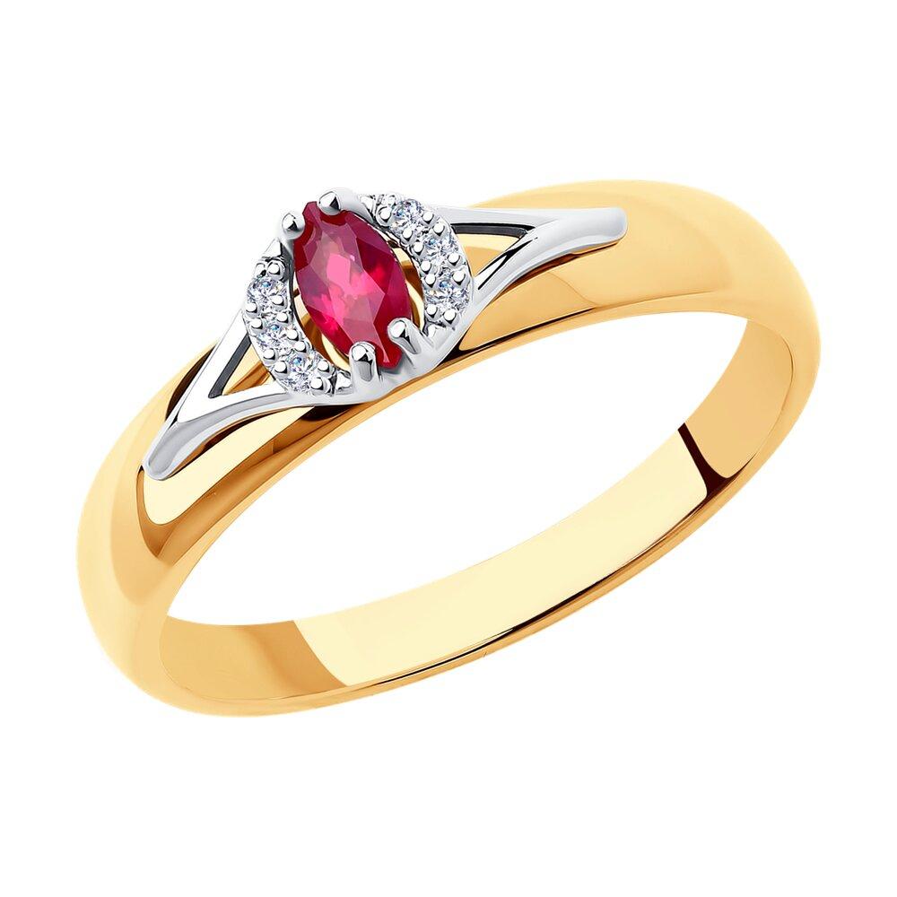 Кольцо SOKOLOV из комбинированного золота с бриллиантами и рубином фото