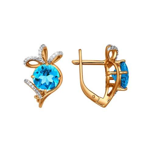 цена на Золотые серьги бантики с голубой вставкой SOKOLOV
