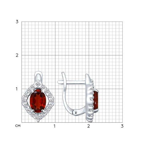 Серьги из серебра с гранатами и фианитами (92021118) - фото №2