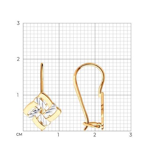Серьги из золота с алмазной гранью (027244) - фото №2