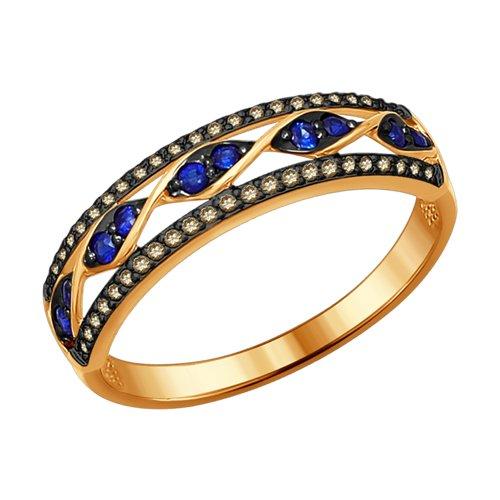 Кольцо из золота с коньячными бриллиантами и сапфирами (2011063) - фото