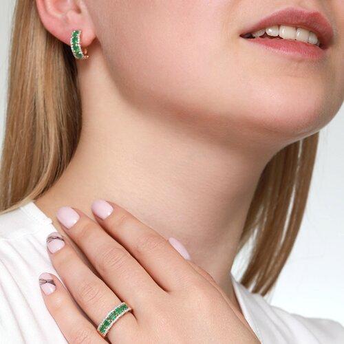 Кольцо из золота с бриллиантами и изумрудами (3010527) - фото №3