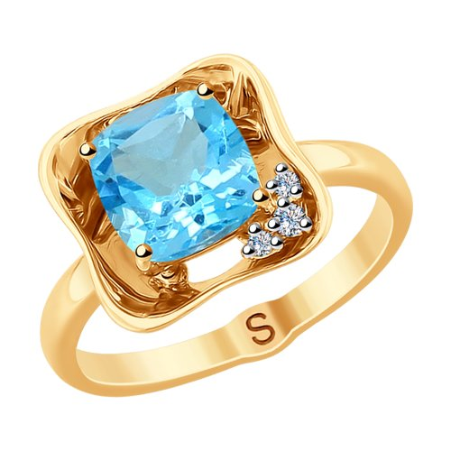 Кольцо из золота с бриллиантами и топазом