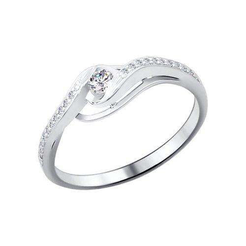 Кольцо из белого золота с бриллиантами (1010555) - фото