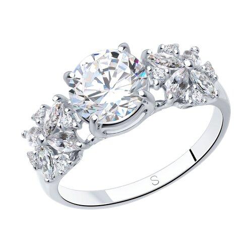 Кольцо из серебра с фианитами (94012395) - фото