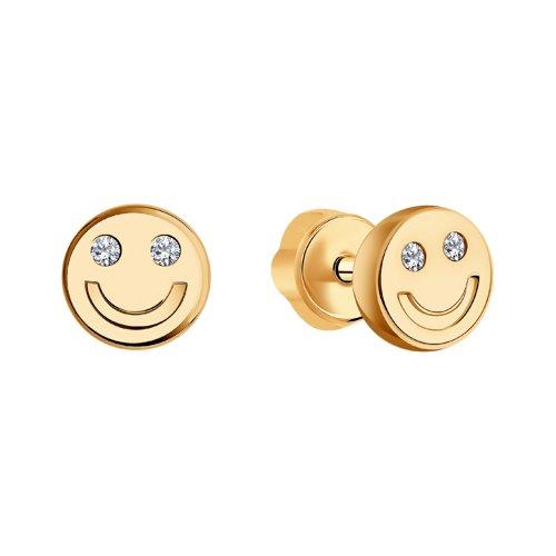 Серьги из золота с фианитами (028772) - фото №2