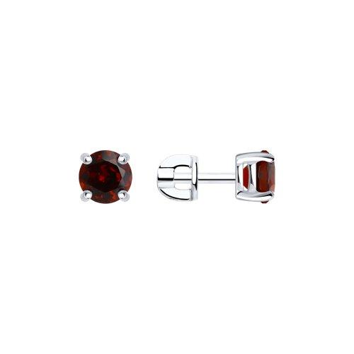 Серьги-пусеты из серебра с гранатами