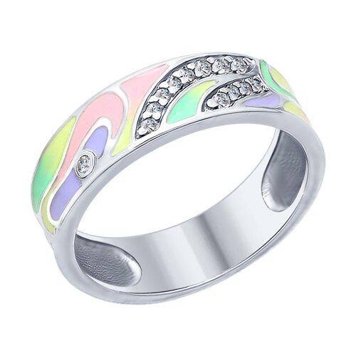 Кольцо из серебра с эмалью с фианитами (94012403) - фото