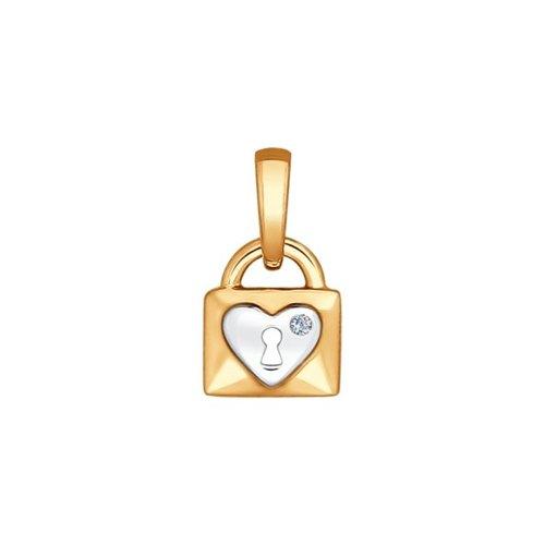 Подвеска «Замок» из золота с бриллиантом