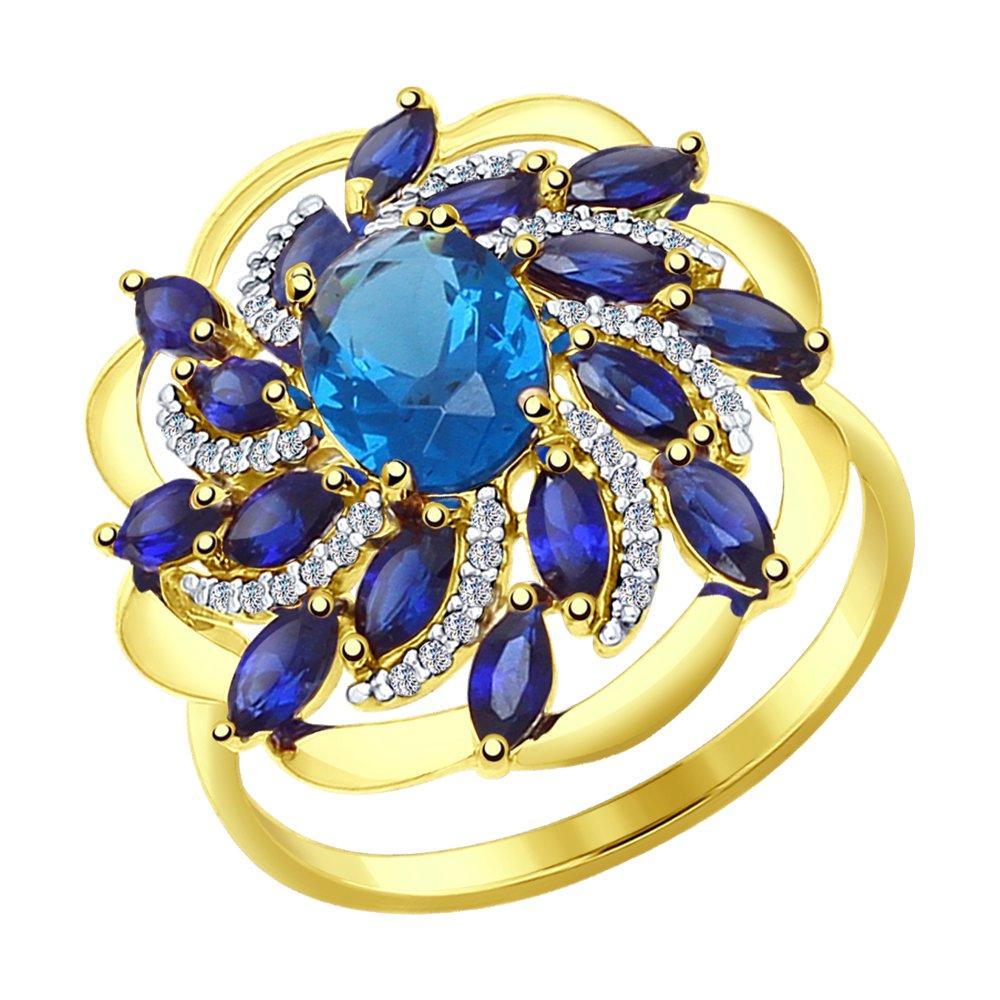 Фото - Кольцо SOKOLOV из желтого золота с синими корунд (синт.), синим ситаллом и фианитами кольцо sokolov из желтого золота с синими корунд синт синим опалом и зелеными и синими фианитами