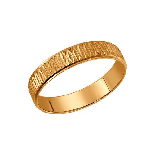 Позолоченное обручальное кольцо с алмазной гранью SOKOLOV