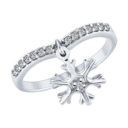 Кольцо «Снежинка» из серебра  (94012359) - фото