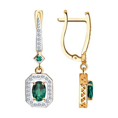 Серьги из золота с бриллиантами и изумрудами (3020471) - фото