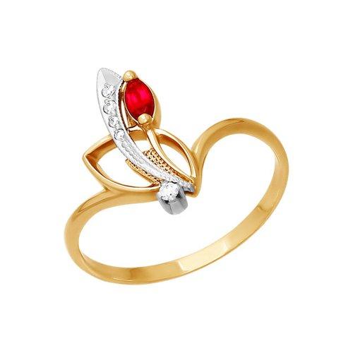 Фото - Кольцо SOKOLOV из комбинированного золота с красным фианитом кольцо sokolov из комбинированного золота с синим фианитом