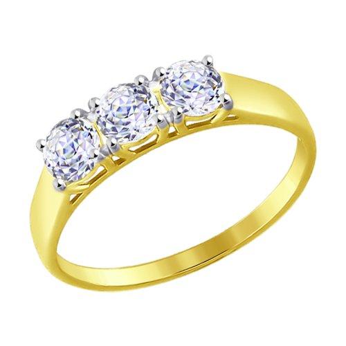 Кольцо из желтого золота со Swarovski Zirconia (81010279-2) - фото