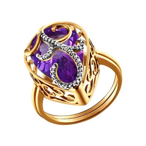 Женское наборное кольцо с аметистом и фианитами SOKOLOV