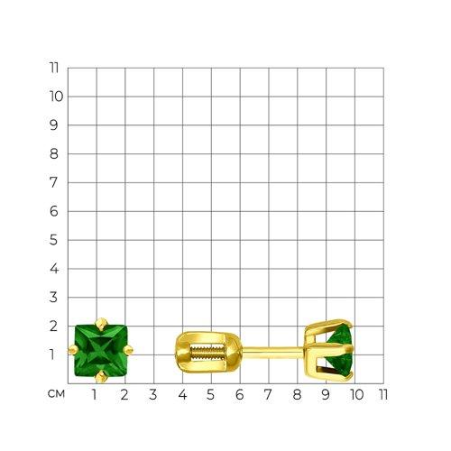 Серьги-пусеты из желтого золота с зелеными фианитами (022172-2) - фото №2
