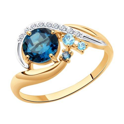 Кольцо из золота с голубыми и синими топазами и фианитами (715048) - фото