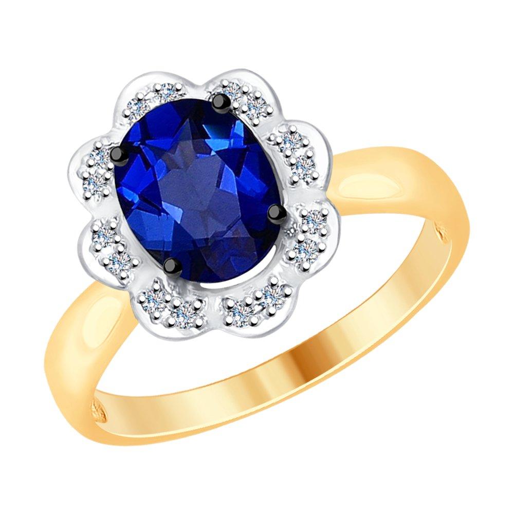 Кольцо SOKOLOV из золота с бриллиантами и корундом (синт.) gucci пуховик с синт наполнителем