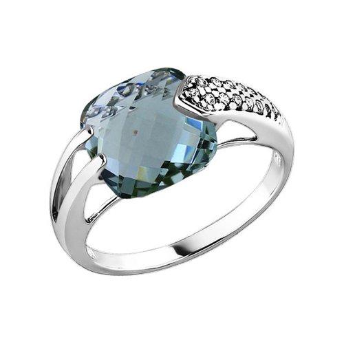 Кольцо из серебра с празиолитом и фианитами