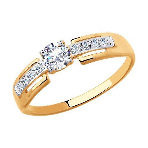 Кольцо из золота с фианитами (018458) - фото