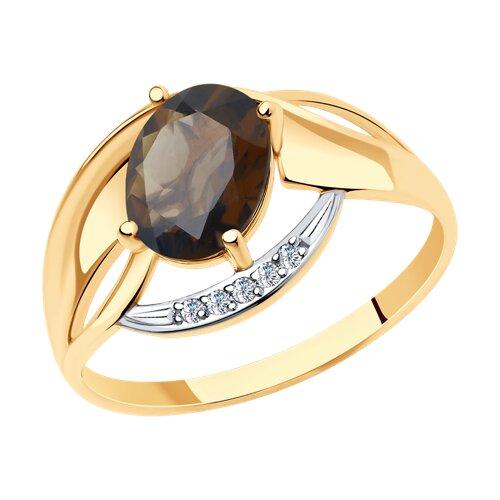 Кольцо из золота с раухтопазом и фианитами (716019) - фото