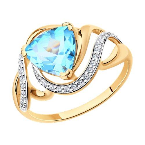 Кольцо из золота с топазом и фианитами (714723) - фото