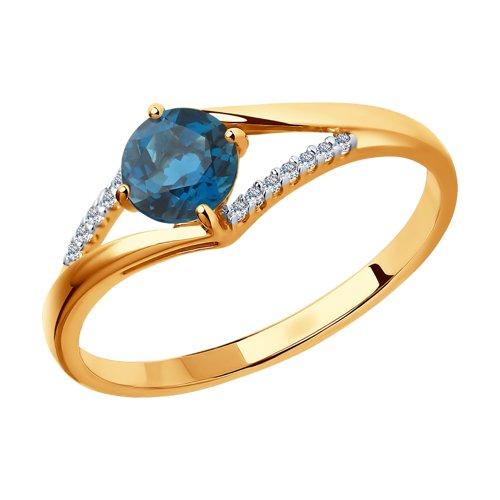 Кольцо из золота с топазом и фианитами (714119) - фото